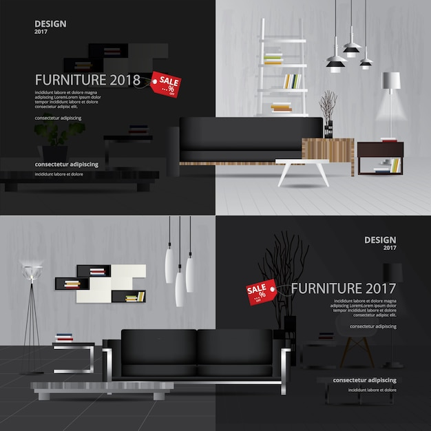2 banner furniture sale design template vector illustration Premium Vector