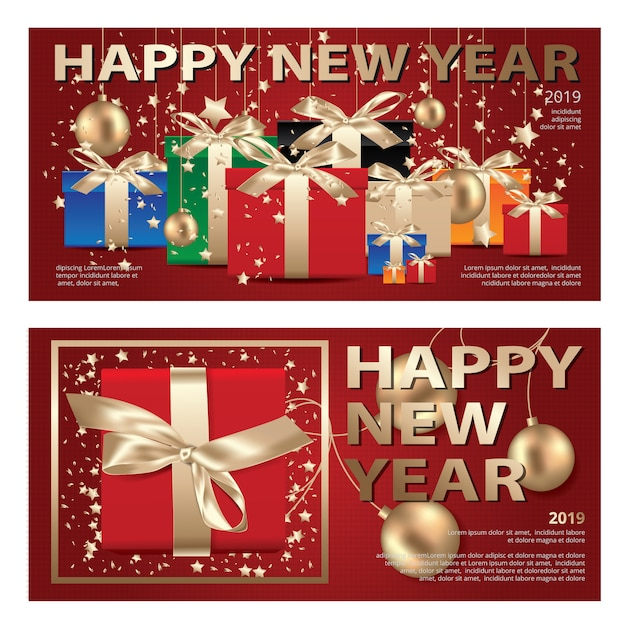 2 banner merry christmas & happy new year template background vector illustration Premium Vector