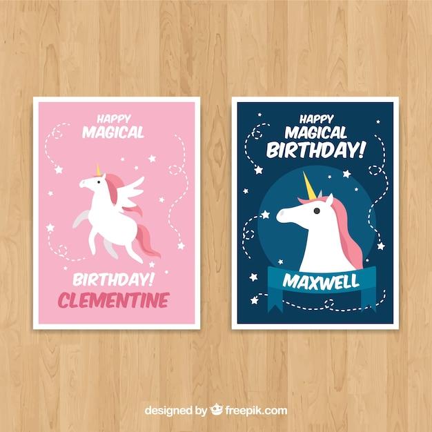 2 Birthday Cards With Unicorns Free Vector