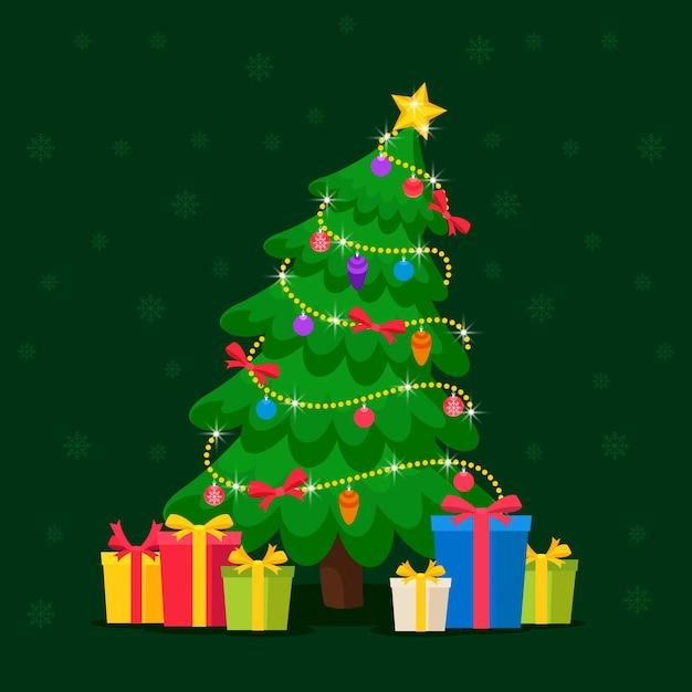 2 dスタイルのクリスマスツリーの概念 無料ベクター