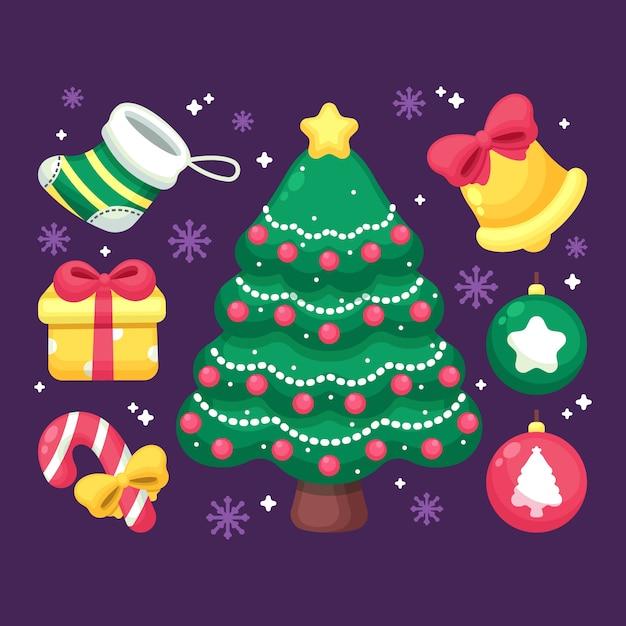 装飾品で2 dのクリスマスツリー 無料ベクター