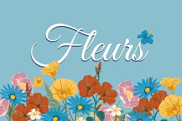 2 dヴィンテージの花の背景とレタリング 無料ベクター
