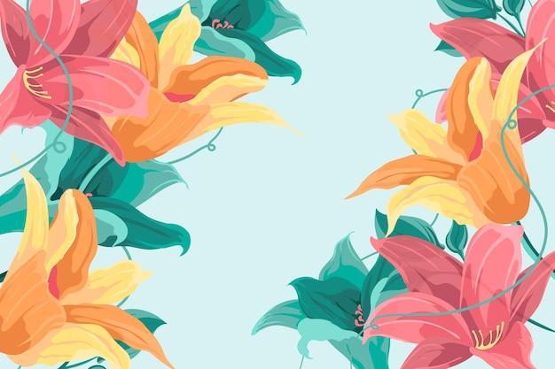 ビンテージ2 d花の背景 無料ベクター
