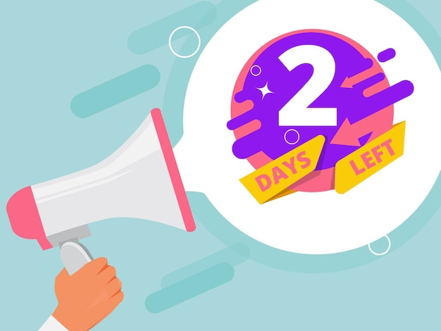 premium vector 2 days left hand holding megaphone business promo concept loudspeaker store sales pictures https www freepik com profile preagreement getstarted 10494937