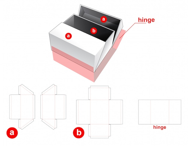 2 flips box with middle opening die cut template Premium Vector