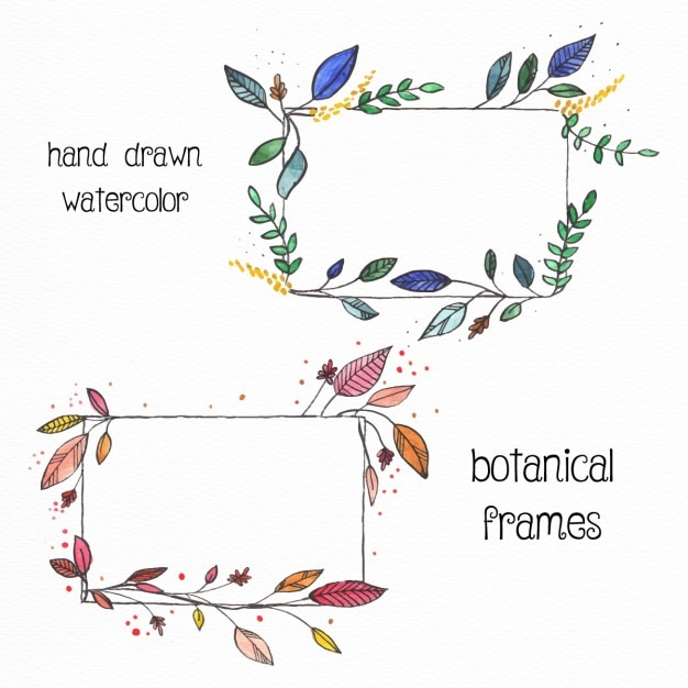 2 hand drawn floral frames with watercolors Free Vector