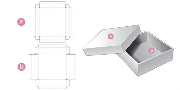2 piece rigid tin box die cut template design Premium Vector