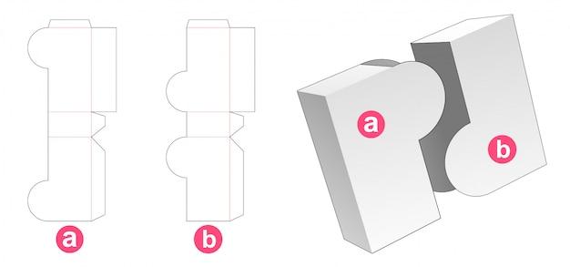 2 pieces box die cut template Premium Vector