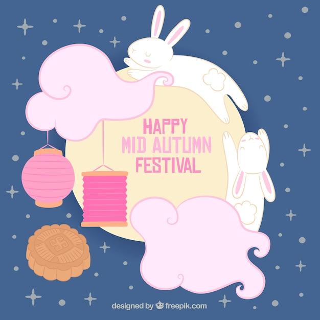2 rabbits around the moon, mid autumn festival