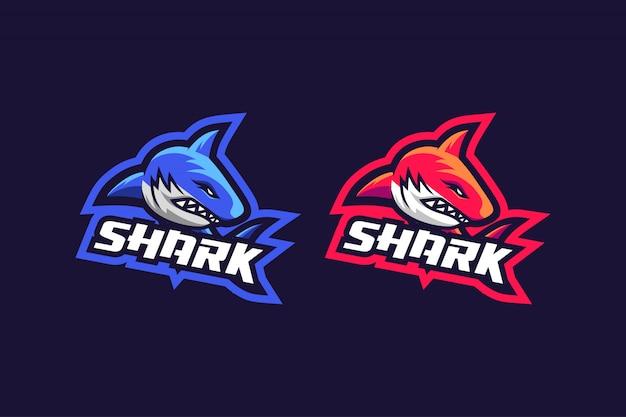 2つのオプションカラーを使用したsharkのeスポーツロゴデザイン Premiumベクター