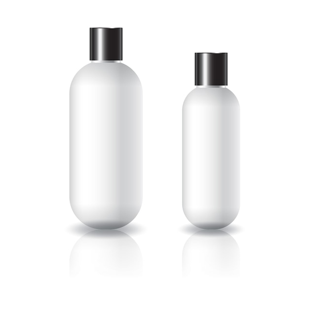 2 sizes of white oval round cosmetic bottle with black plain screw lid. Premium Vector