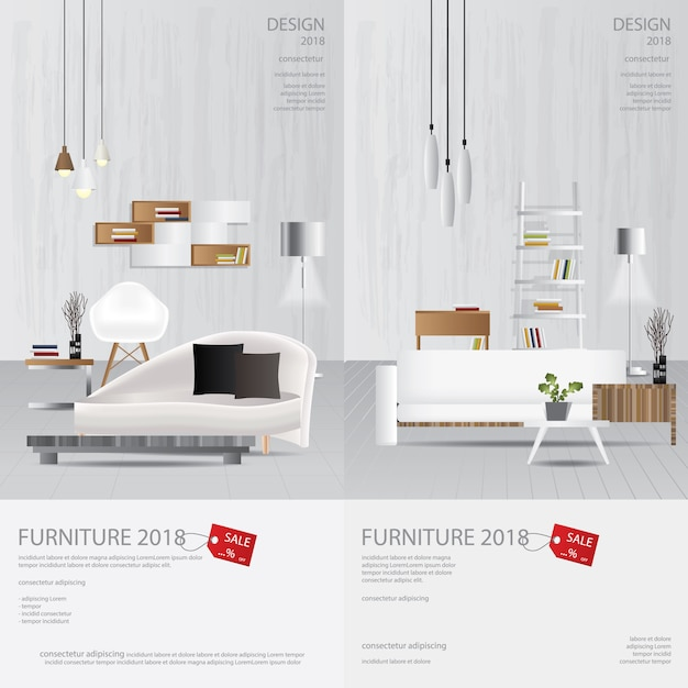 2 vertical banner furniture sale design template vector illustration Premium Vector
