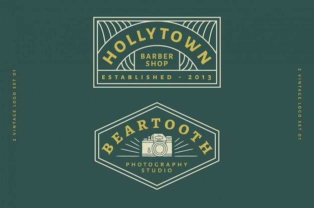 2 vintage logo set vol 03 - barbershop logo - photography studio logo fully editable text, color and outline Premium Vector