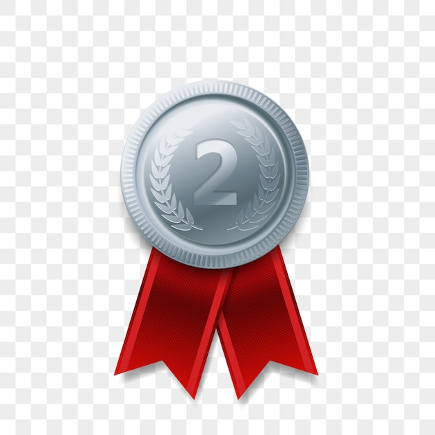 고립 된 리본 현실적인 아이콘 2 우승자 은메달 수상. 1 위 2 위 또는 최고의 승리 챔피언 상 수상 은빛 빛나는 메달 배지 프리미엄 벡터