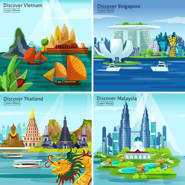 アジア旅行2 x 2デザインコンセプト 無料ベクター
