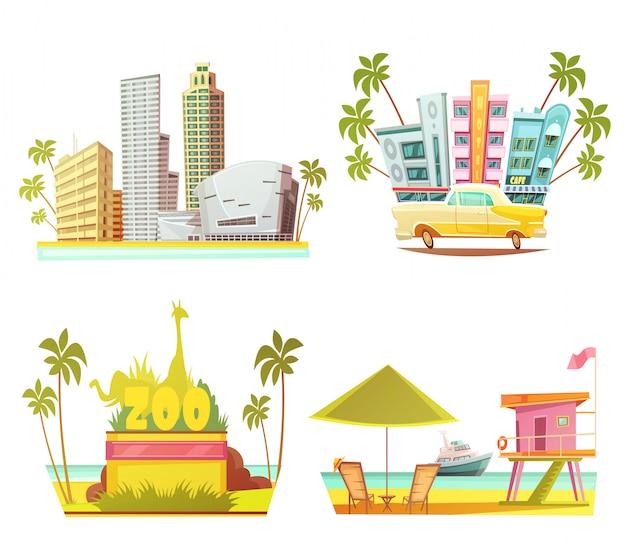 高層ビル都市動物園ライフガードキャビンとマイアミ2 x 2のデザインコンセプト 無料ベクター