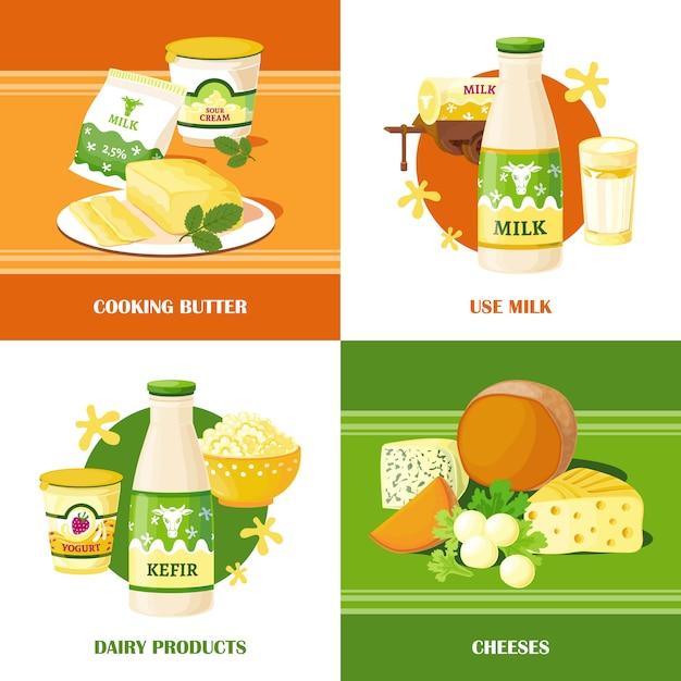 牛乳とチーズ2 x 2のデザインコンセプト 無料ベクター