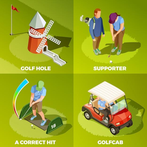 ゴルフ2 x 2アイソメトリックデザインコンセプト 無料ベクター