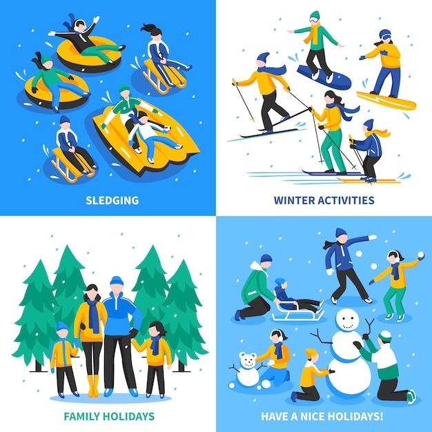冬の活動2 x 2の概念 無料ベクター