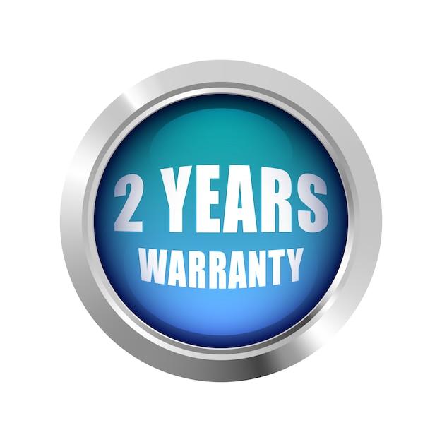 2年間の保証バッジロゴブルーの光沢のあるシルバーメタリック Premiumベクター