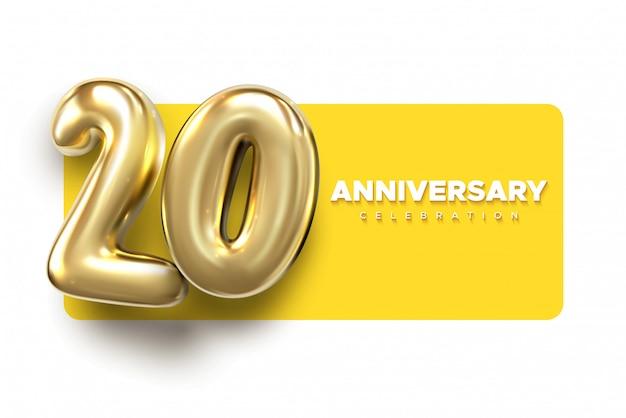 20 юбилейных золотых номеров. празднование 20-й годовщины событий партии шаблон. Premium векторы