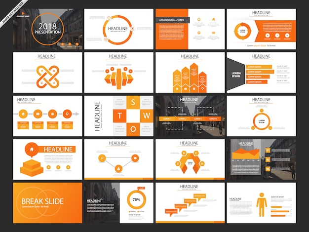 20 bundle orange presentation slides Premium Vector