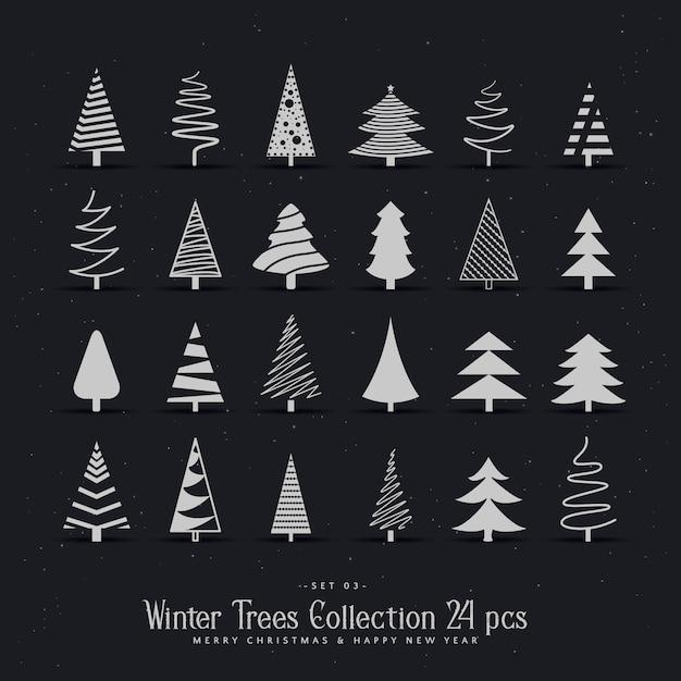20 different christmas tree design set Free Vector