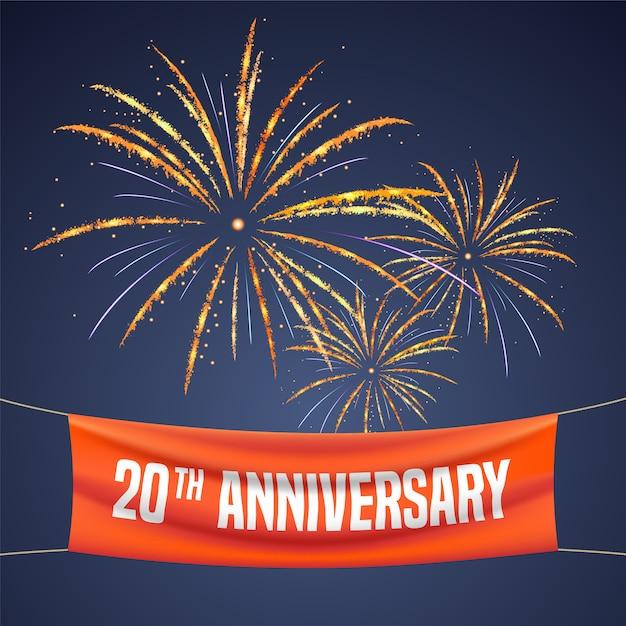 20 лет юбилей иллюстрации, баннер, флаер, значок, символ, приглашение Premium векторы