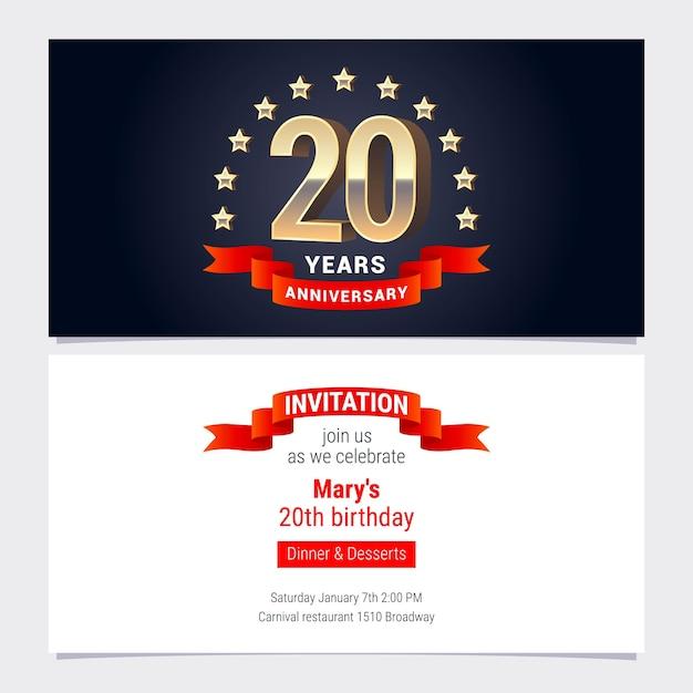 20 лет юбилей приглашение на празднование векторные иллюстрации. элемент графического дизайна с золотым номером для 20-го дня рождения, приглашение на вечеринку Premium векторы