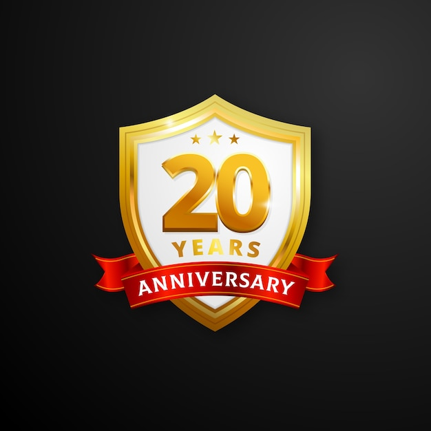 20 Years Anniversary Shield Vector Premium Download