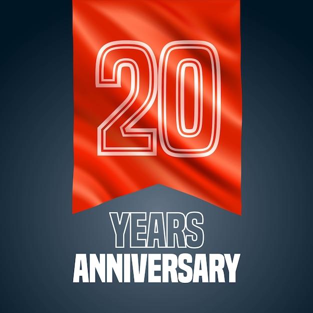 20 лет юбилей векторный icon, логотип. элемент дизайна с красным флагом для украшения 20-летия Premium векторы