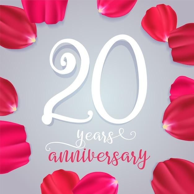 20 лет юбилей векторный icon, логотип. элемент графического дизайна с числами для поздравительной открытки на 20-й день рождения или годовщину свадьбы Premium векторы