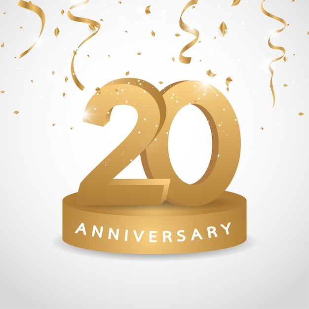 20-летний логотип с золотой конфетти Premium векторы