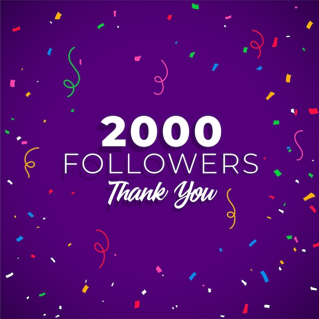 2000 follower di rete di social media Vettore gratuito