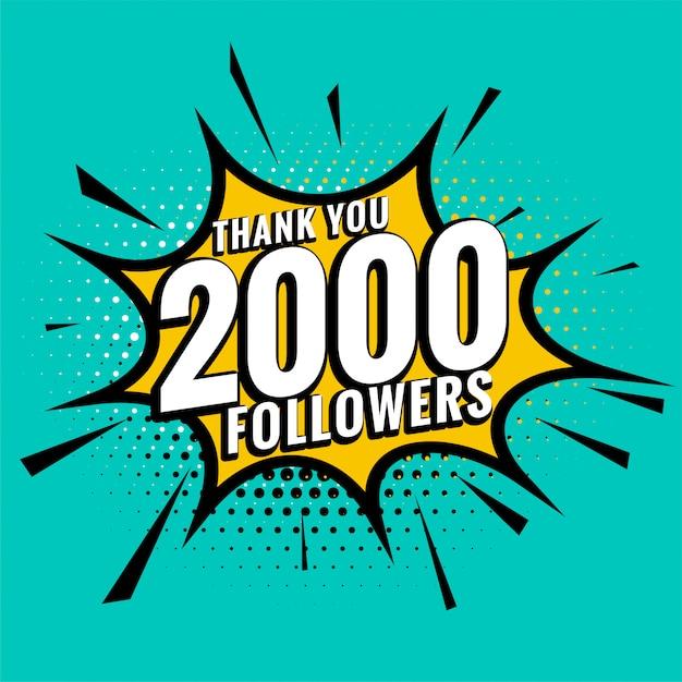2000 подписчиков в социальных сетях, благодарственный пост в стиле комиксов Бесплатные векторы
