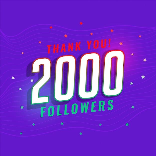 2000 социальных медиа последователей сети дизайн поста Бесплатные векторы