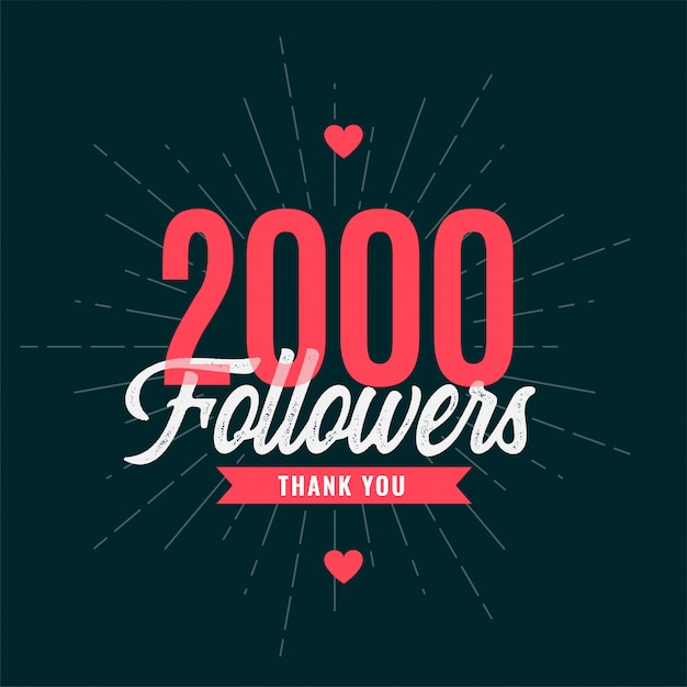 2000 subscribers celebration banner Free Vector