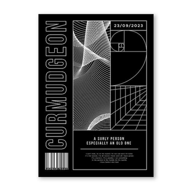 Плакат 2000-х годов абстрактная геометрическая концепция Бесплатные векторы