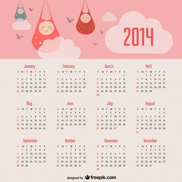 2014 calendar baby announcement and pink sky Free Vector