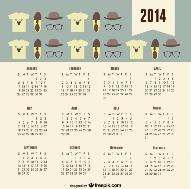 2014 Calendar Fashion Trend Hipster Look Vector Free Download