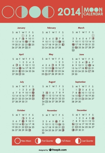 2014 Calendar Moon Phases Symbols  Free Vector