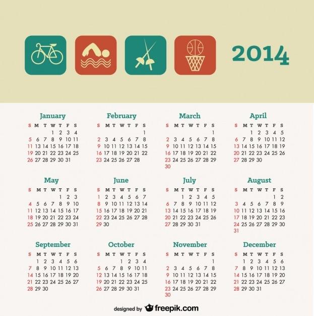 Calendar Design Concept : Calendar sport concept design vector free download