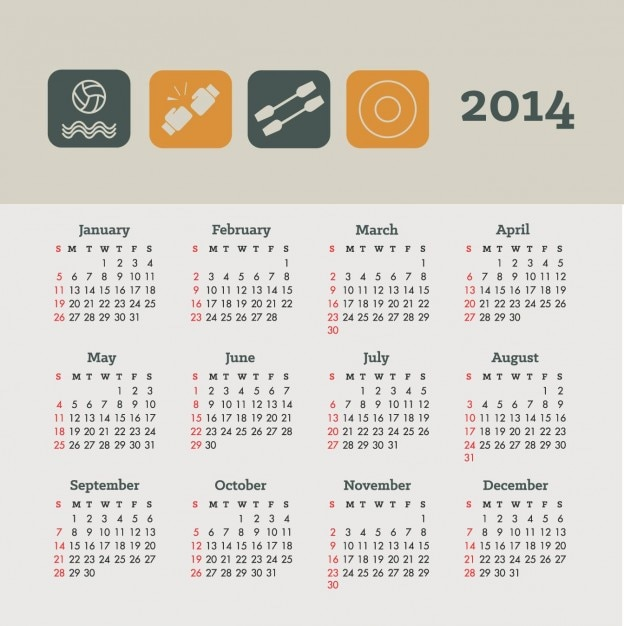 Health Calendar Design : Calendar sports and health concept design vector