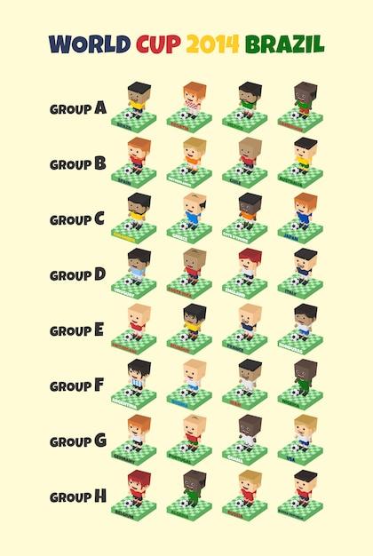 等尺性ワールドカップ2014サッカーチームグループ Premiumベクター