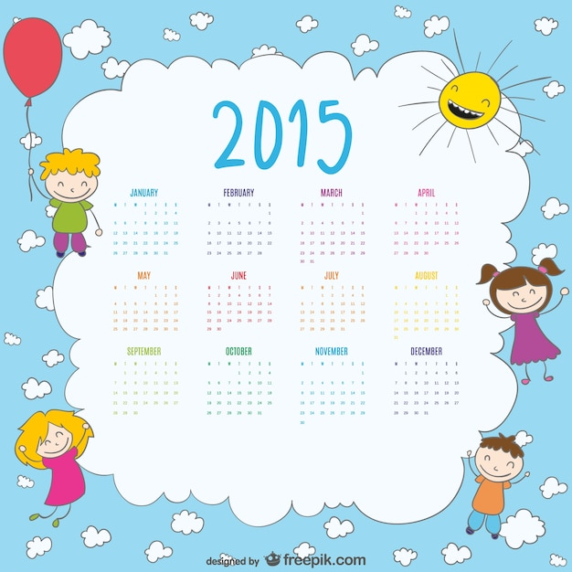 Calendar Drawing For Kids : Calendar of happy kids drawing vector free download