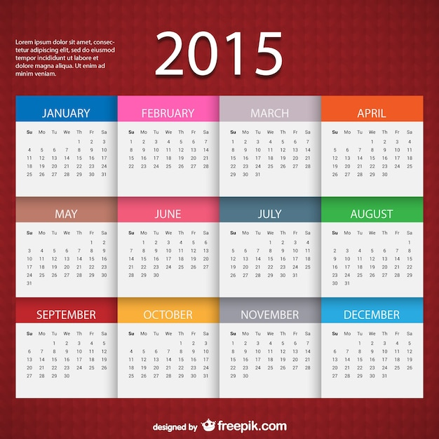 2015 Calendar Template Vector Free Download