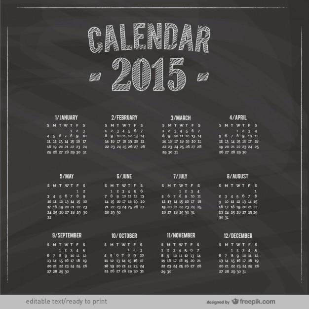 2015 Calendar With Blackboard Texture Vector Free Download