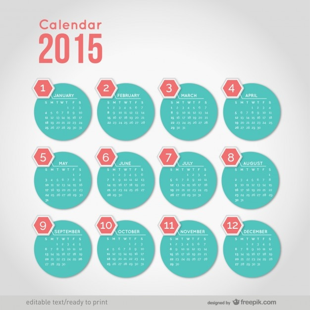 2015 Calendar With Minimalist Round Shapes Vector Free Download