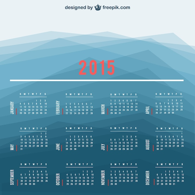 2015 calendar with polygonal background Free Vector