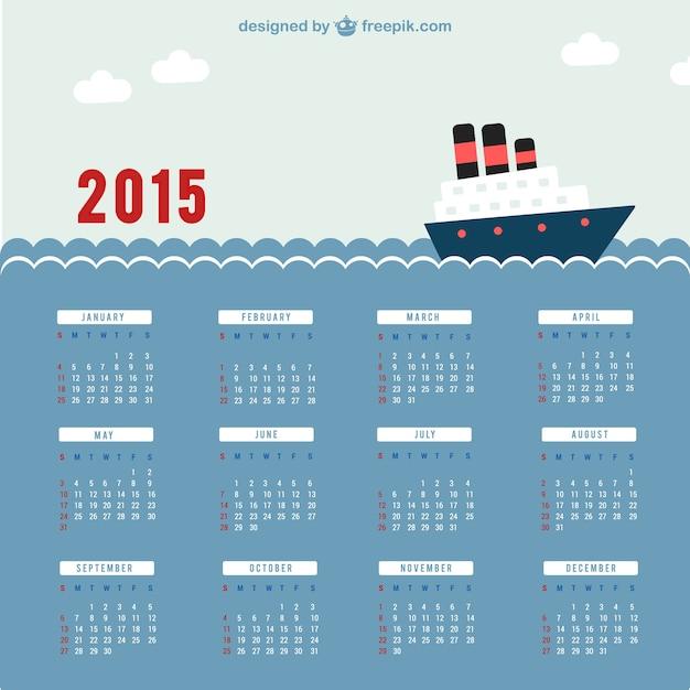 2015 calendar with sea Free Vector